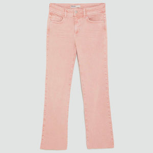 Zara   NEW Straight Cropped Light Pink Jeans 34